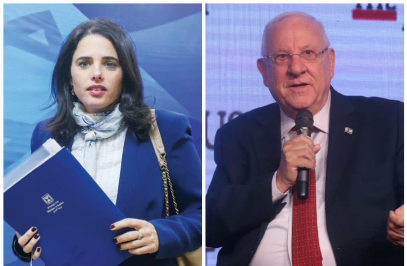Justice Minister Ayelet Shaked (L) and President Reuven Rivin (R). (photo credit: MARC ISRAEL SELLEM)