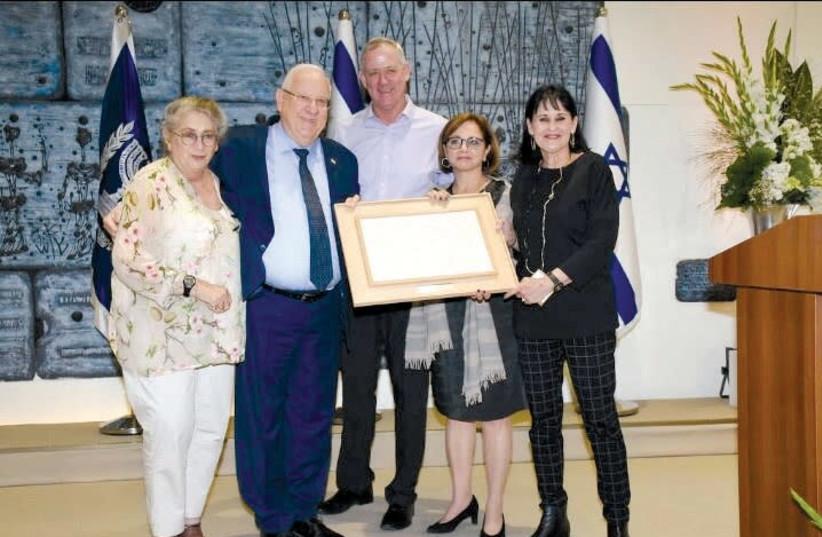 Nechama and Reuven Rivlin, Benny Gantz, Yehudit Yovel Recanati and Orly Gal. (photo credit: AVIV CHOFI)
