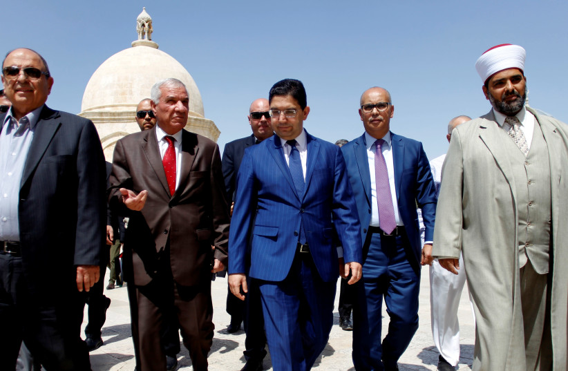 Moroccan Foreign Minister Nasser Bourita visits the Al Aqsa mosque on the Temple Mount (photo credit: STRINGER/ REUTERS)
