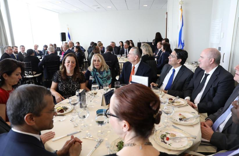 Ambassadors and senior diplomats join Israeli Ambassador to the UN Danny Danon at a mock Passover seder (photo credit: ISRAEL MISSION TO THE UN)