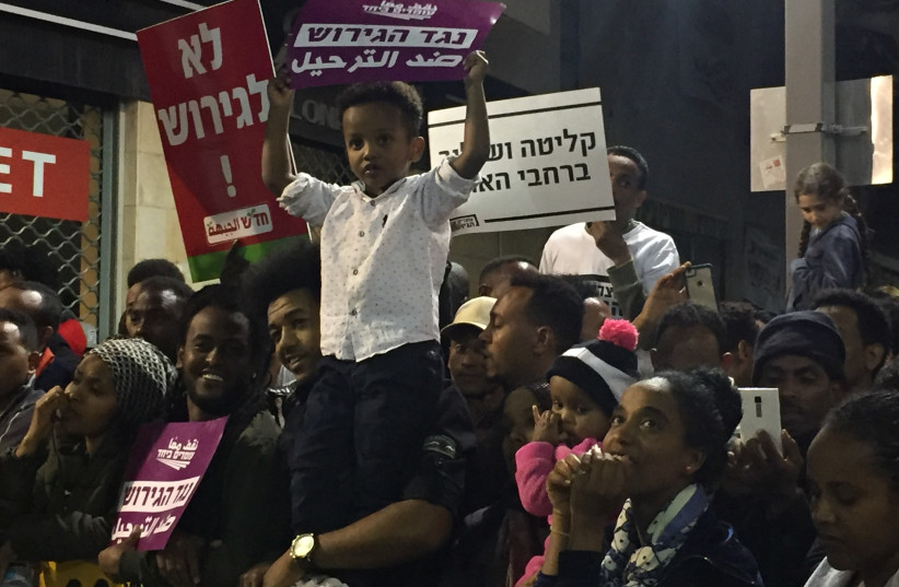 Asylum seekers protest against the deportation in south Tel Aviv (photo credit: REBECCA MONTAG)