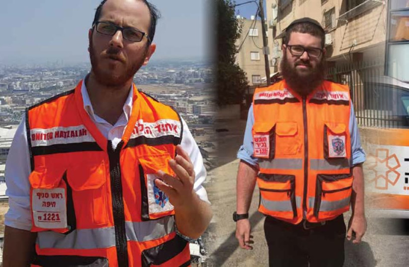 Moshe Adler (left) and Aryeh Amit (right) in their United Hatzalah uniforms. (photo credit: COURTESY PHOTOS)