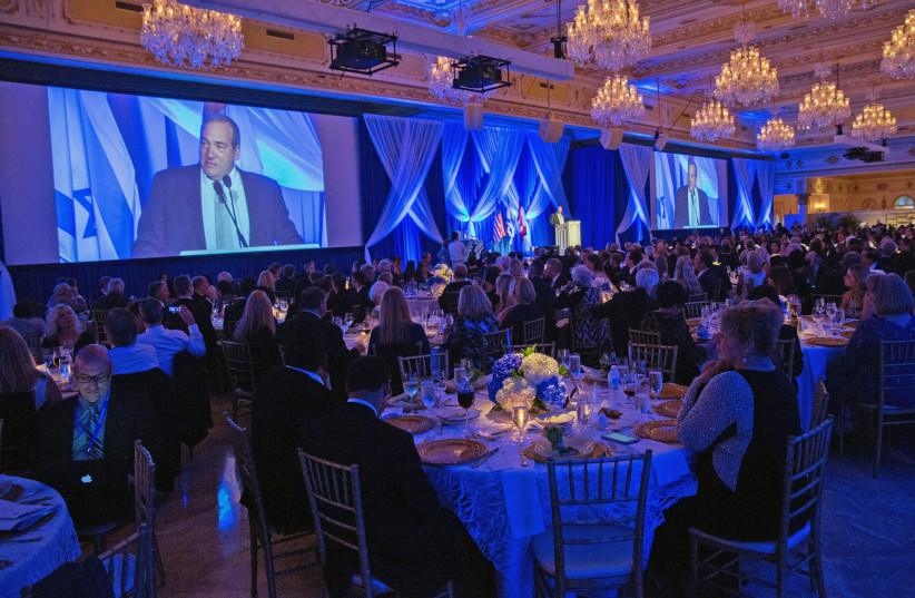 """International Fellowship of Christian and Jews (The Fellowship) Founder and President Rabbi Yechiel Eckstein speaks to More than 500 evangelical Christians and Jews gathered at Mar-a-Lago last night for the """"Together in Fellowship"""" gala. (photo credit: CAPEHART PHOTOGRAPHY)"""