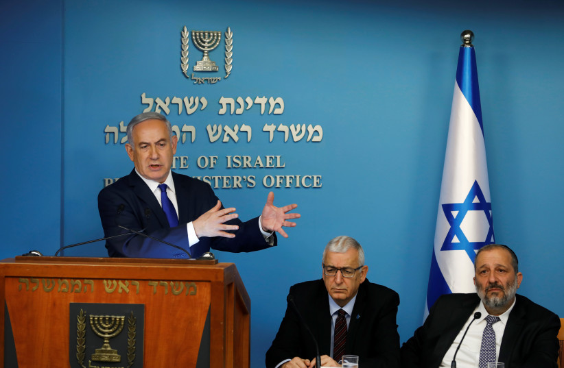 Israeli Prime Minister Benjamin Netanyahu gestures during a news conference at the Prime Minister's office in Jerusalem April 2, 2018.  (photo credit: REUTERS/Ronen Zvulun)