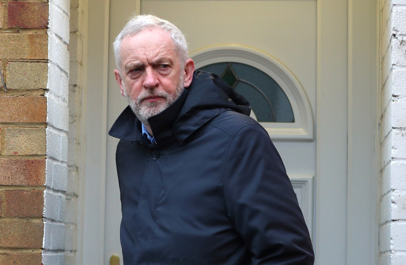 Britain's opposition Labour Party leader Jeremy Corbyn leaves his home in London, Britain, April 2, 2018. (photo credit: REUTERS / HANNAH MCKAY)