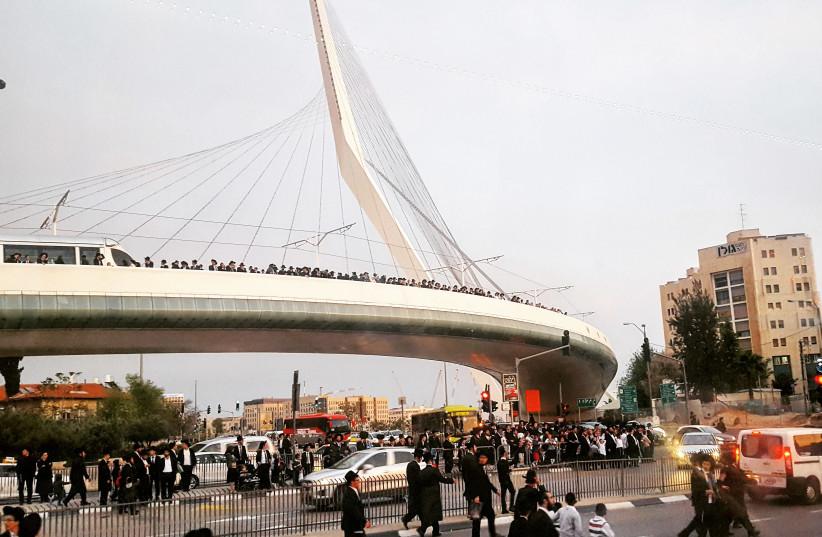 Ultra-Orthodox stage celebration in honor of 63 'Torah prisoners' in Jerusalem (photo credit: ILANIT CHERNICK)
