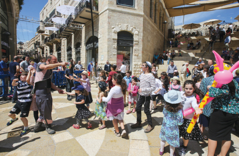 Celebrating Hol Hamoed throughout Mamilla Mall and the Old City (photo credit: MARC ISRAEL SELLEM)