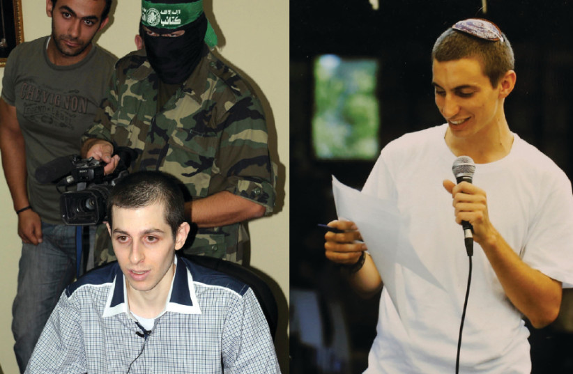 (LEFT) IDF soldier Gilad Schalit is seen while being held captive on the Egyptian side of the Rafah border crossing in 2011. Right: IDF SOLDIER Hadar Goldin is seen in this undated family handout provided in 2014 (photo credit: REUTERS)
