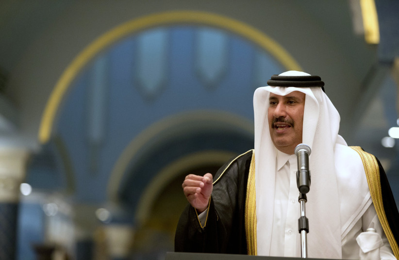 Hamad bin Jassim Al Thani speaks during a news conference at Wajbah Palace, in Doha March 5, 2013.  (photo credit: JACQUELYN MARTIN / POOL / REUTERS)