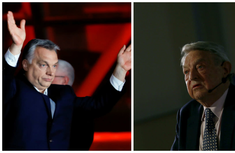 Hungarian President Viktor Orban (left) and Jewish Philanthropist George Soros (photo credit: LEONHARD FOEGER + RALPH ORLOWSKI/REUTERS)