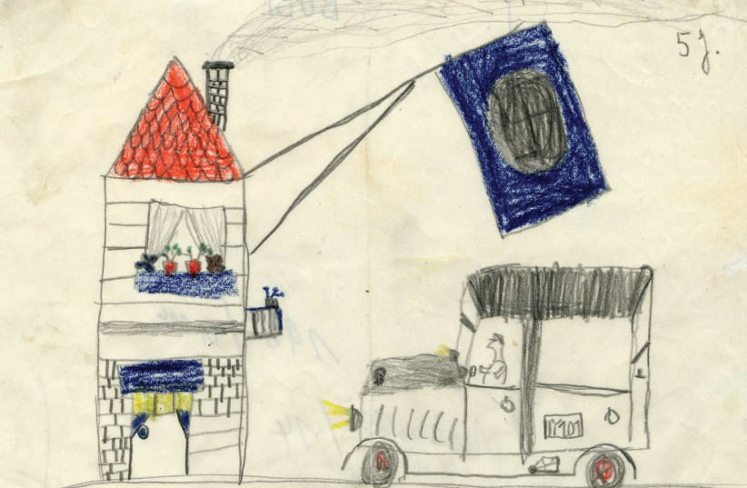 'HOUSE WITH Swastika Flag,' Bubi (last name unknown), undated, wax, pencil and graphite pencil on paper. (photo credit: DÜSSELDORF CITY MUSEUM/ESTATE OF JULO LEVIN)