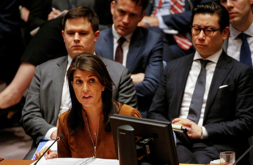 United States Ambassador to the United Nations Nikki Haley addresses the United Nations Security Council meeting on Syria at the U.N. headquarters in New York, April 9, 2018 (photo credit: BRENDAN MCDERMID/REUTERS)