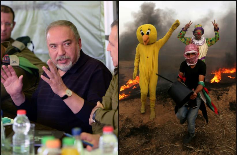 Israeli Defense Minister Avigdor Liberman (left) and Gaza protesters flashing the victory sign (photo credit: ARIEL HERMONI + REUTERS)