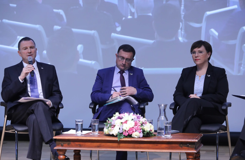 Yuli Edelstein speaks at an Israel-Russia event for Holocaust Remembrance Day  (photo credit: ITZIK HARRARI - KNESSET SPOKESMAN'S OFFICE)