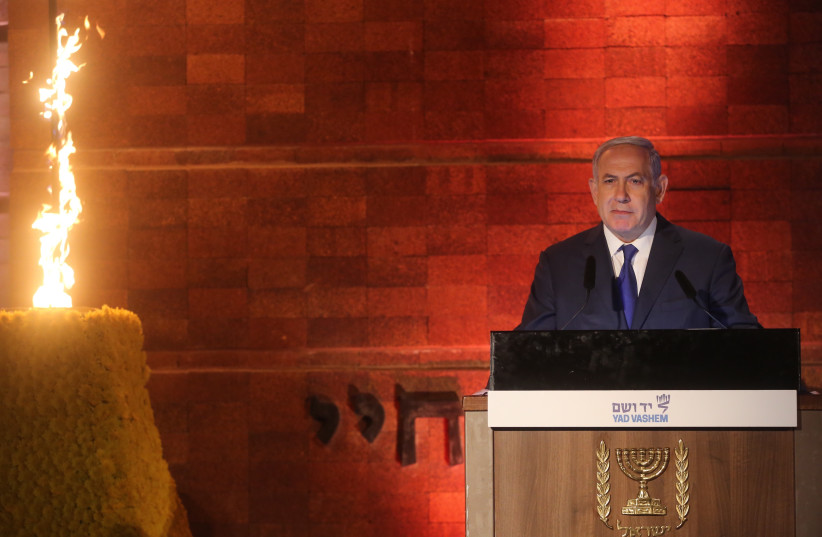 Prime Minister Benjamin Netanyahu speaks at Yad Vashem's Holocaust Remembrance Day ceremony (photo credit: MARC ISRAEL SELLEM/THE JERUSALEM POST)