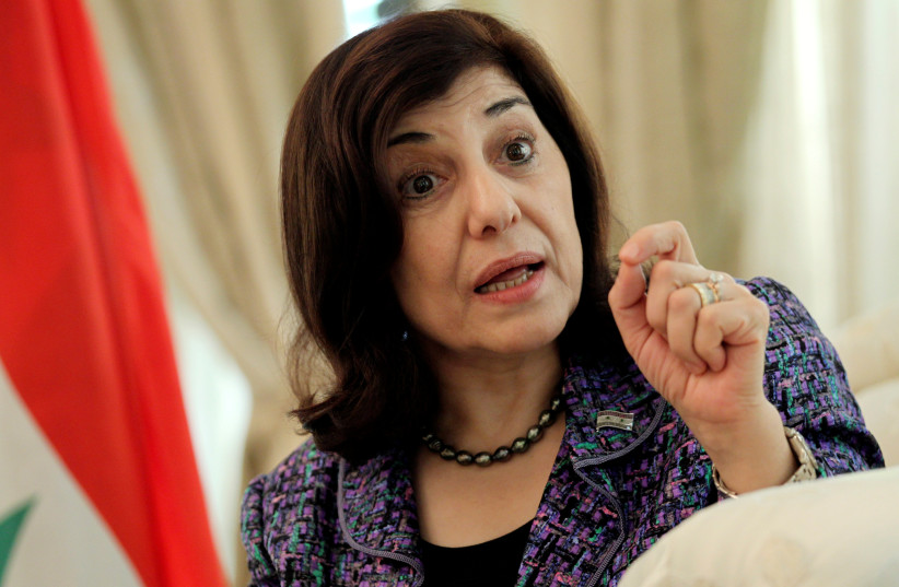 Bouthaina Shaaban, envoy of Syrian President Bashar al-Assad, speaks during an interview in Beijing August 15, 2012 (photo credit: STRINGER/ REUTERS)