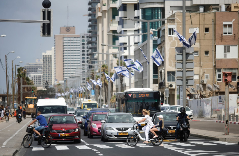 A Tel Aviv street scene this week, ahead of Independence Day 2018 (photo credit: MARC ISRAEL SELLEM/THE JERUSALEM POST)