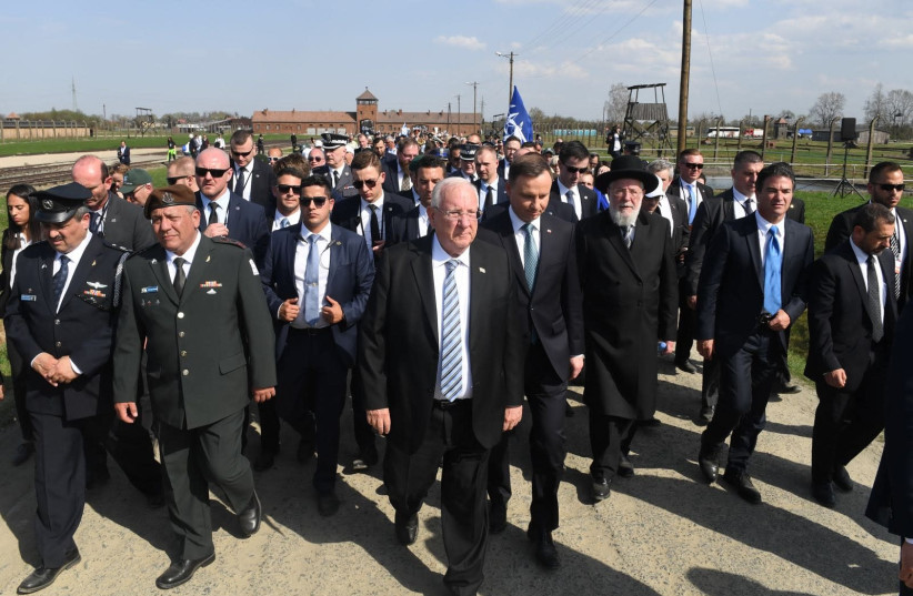 Israeli President Reuven Rivlin and Polish President Andrzej Duda led the record-breaking procession at the 30th March of the Living. (photo credit: KOBI GIDON / GPO)