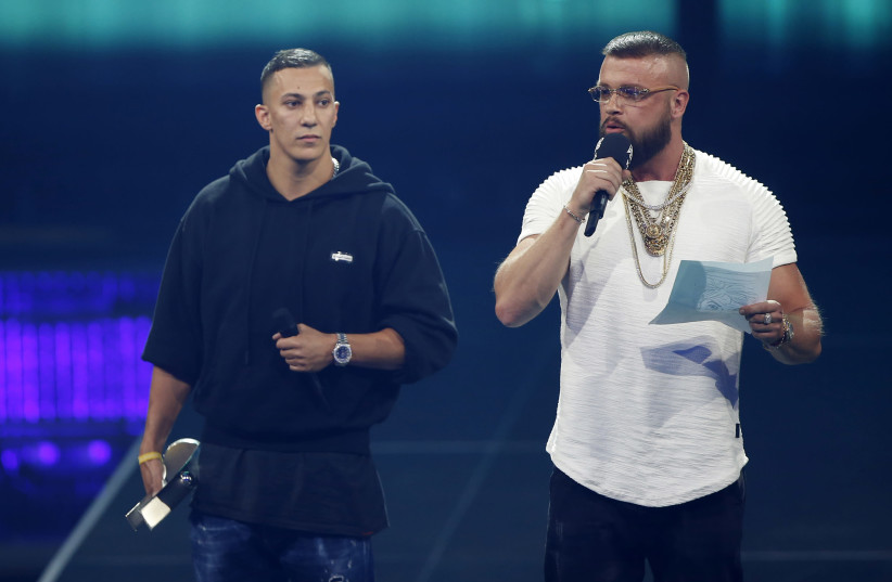 German rappers Kollegah and Farid Bang at the Echo Awards (photo credit: POOL)