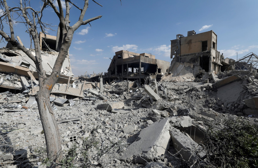 The destroyed Scientific Research Centre is seen in Damascus, Syria April 14, 2018. (photo credit: OMAR SANADIKI/REUTERS)