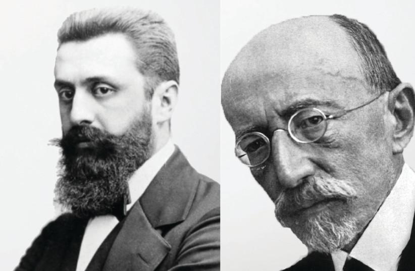 Theodor Herzl and Ahad Ha'am (photo credit: Wikimedia Commons)