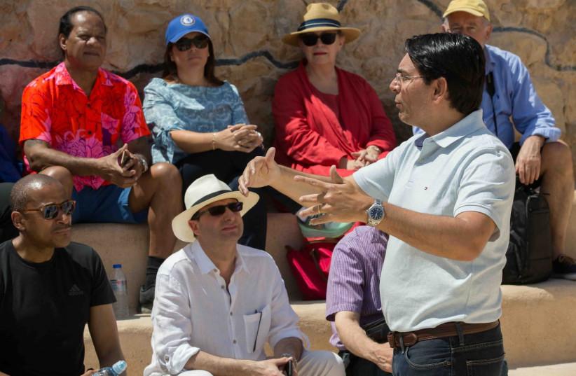 Ambassador Danon speaking with the UN ambassadors at Masada (photo credit: AVI DODI)