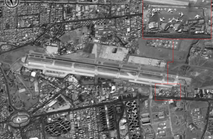 Mehrabad airfield in Tehran is used by Iran's Revolutionary Guards unit to ship arms to Syria (photo credit: IDF SPOKESMAN'S UNIT)