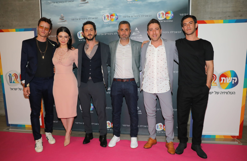 Michael Aloni, Ninet Tayeb, Tomer Kapon, Omri Givon, Moshe Ashkenazi and Nadav Netz on the red carpet. (photo credit: RAFI DELOUYA)
