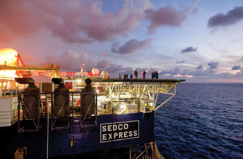 NOBLE ENERGY'S Sedco Express sits atop the Tamar field, which began supplying Israel with natural gas in 2013 (photo credit: COURTESY OF NOBLE ENERGY)