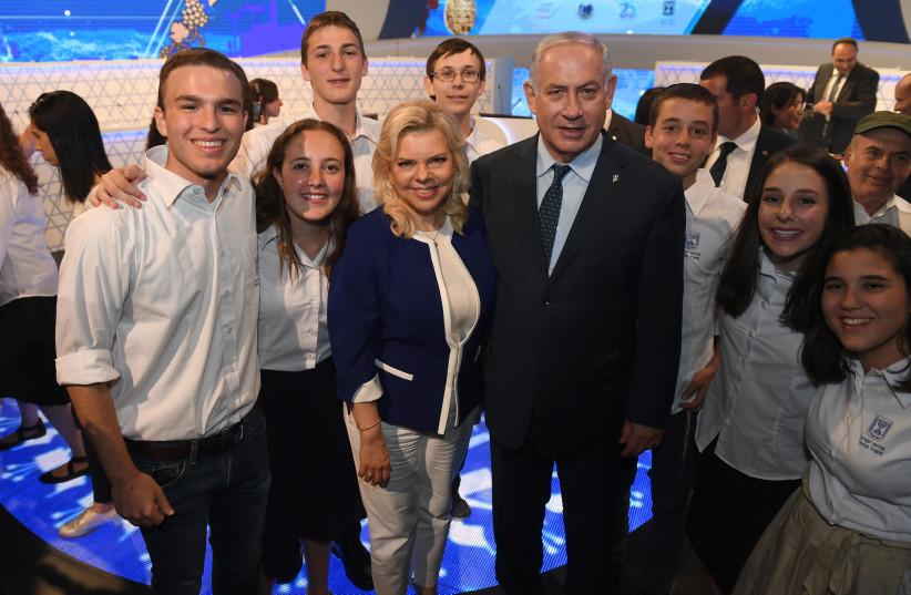 PM Benjamin Netanyahu and wife Sara Netanyahu at the International Bible Quiz (photo credit: GPO)