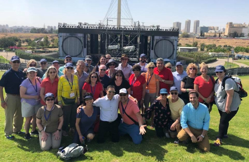 Mayor Ruvik Danilovich with Jewish National Fund-USA donors at the River Park and amphitheater JNF has built in Be'er Sheba (photo credit: JNF-USA)