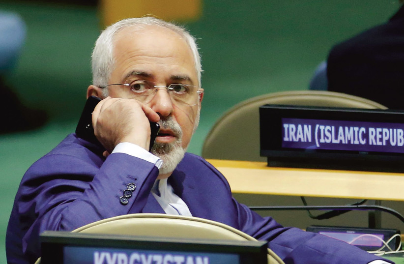 Iranian Foreign Minister Muhammad Zarif at the U.N. (photo credit: EDUARDO MUNOZ / REUTERS)