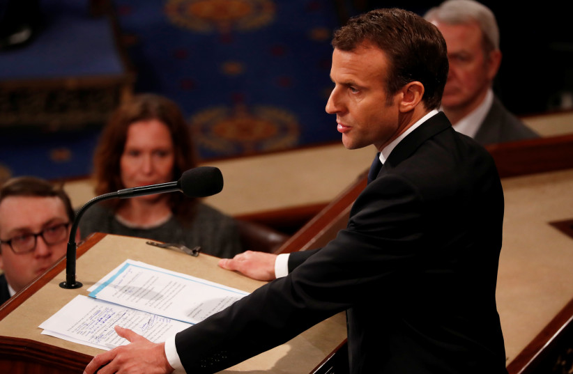 French President Emmanuel Macron addresses a joint meeting of the US Congress in Washington, DC (photo credit: JONATHAN ERNST / REUTERS)
