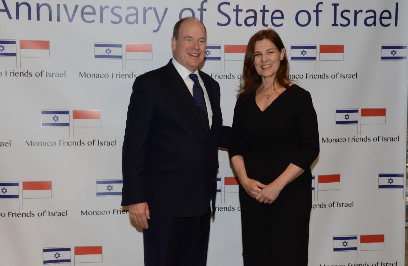 Prince Albert of Monaco with Israeli Ambassador to France and Monaco (photo credit: ISRAELI EMBASSY IN PARIS)