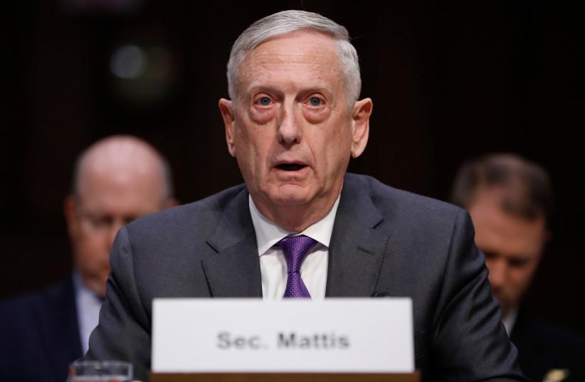 US Defense Secretary Jim Mattis testifies before a Senate Armed Services Committee hearing, April 26, 2018 (photo credit: REUTERS/AARON P. BERNSTEIN)