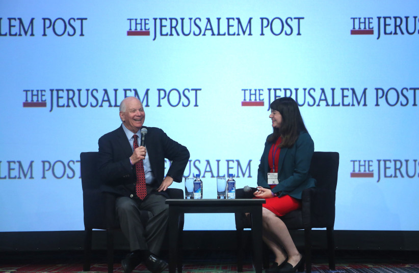 Ben Cardin, United States Senator (D) from Maryland, interviewed by The Jerusalem Post's Lahav Harkov at the 7th Annual JPost Conference in NY (photo credit: MARC ISRAEL SELLEM)