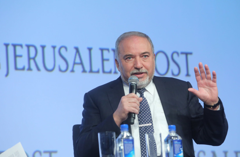 Avigdor Liberman, Defense Minister speaking at the 7th Annual JPost Conference in NY (photo credit: MARC ISRAEL SELLEM)