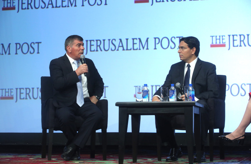 A conversation between General (Ret.) Gabi Ashkenazi, former IDF Chief of General Staff and Chairman Of The Board of the Rashi Foundation and Ambassador Danny Danon, Permanent Representative of Israel to the UN at the 7th Annual JPost Conference in NY (photo credit: MARC ISRAEL SELLEM)