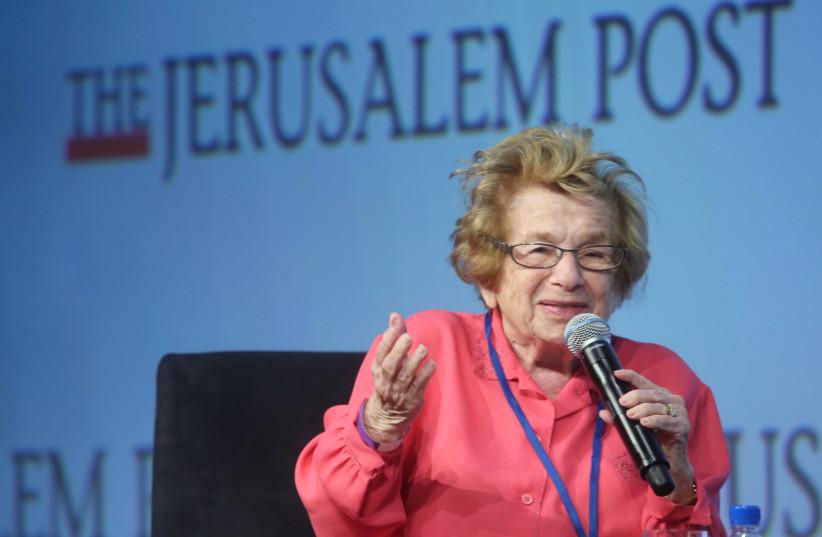Dr. Ruth Westheimer speaks at The Jerusalem Post Annual Conference, April 29, 2018 (photo credit: MARC ISRAEL SELLEM/THE JERUSALEM POST)