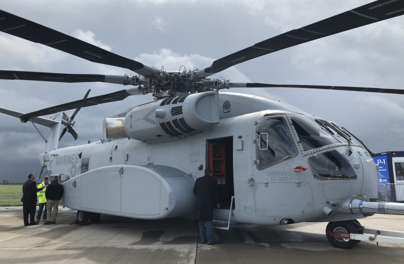 Lockheed Martin Sikorsky's Ch-53K on the tarmac at Berlin Air Show (photo credit: ANNA AHRONHEIM)