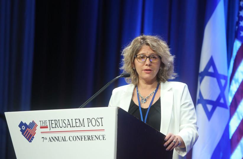 Yitzhak Shamir Medical Center Director-General Dr. Osnat Levtzion-Korach speaks at the 7th Annual Jerusalem Post Conference in New York on April 29th, 2018. (photo credit: MARC ISRAEL SELLEM/THE JERUSALEM POST)