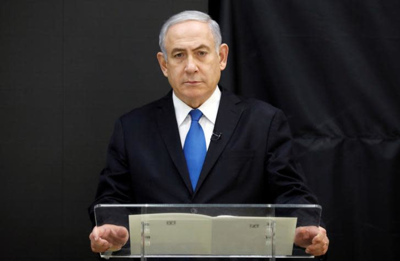 Israeli Prime minister Benjamin Netanyahu speaks during a news conference at the Ministry of Defence in Tel Aviv, Israel, April 30, 2018 (photo credit: REUTERS/AMIR COHEN)