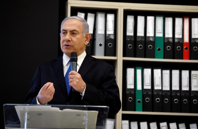 Prime minister Benjamin Netanyahu speaks during a news conference at the Ministry of Defence in Tel Aviv, Israel, April 30, 2018 (photo credit: REUTERS/AMIR COHEN)