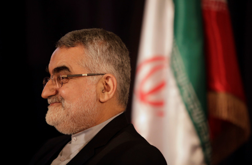 Chairman of the Iranian parliament's National Security and Foreign Policy Commission Alaeddin Boroujerdi attends a news conference in Damascus, Syria, January 5, 2017.  (photo credit: OMAR SANADIKI/REUTERS)
