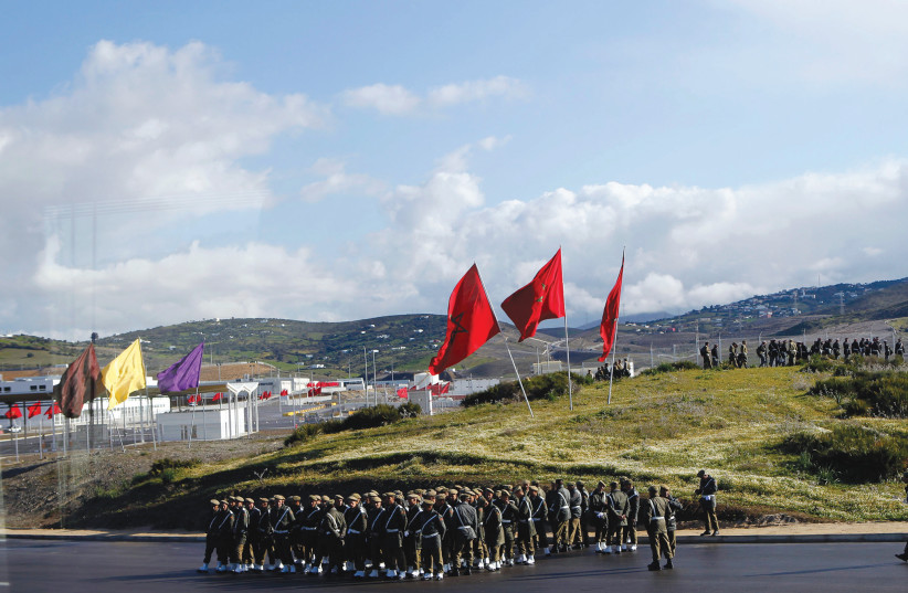 Moroccan soldiers line up on parade grounds, May 2, 2018. (photo credit: REUTERS)