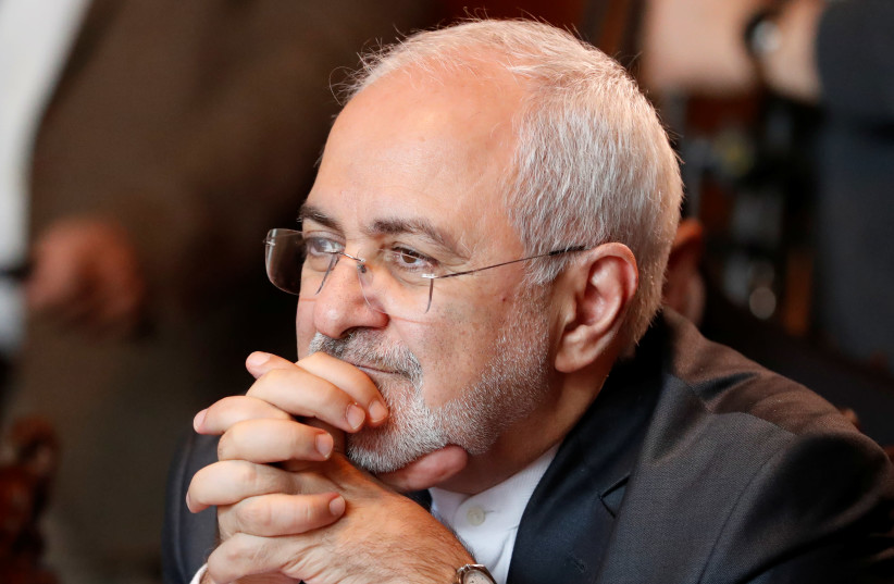 Iranian Foreign Minister Mohammad Javad Zarif attends a meeting (photo credit: GRIGORY DUKOR / REUTERS)