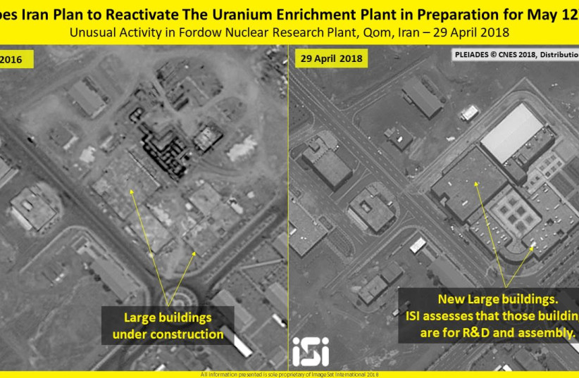 Satellite images of Iran's Fordo enrichment facility, May 3, 2018 (photo credit: IMAGESAT INTERNATIONAL (ISI))