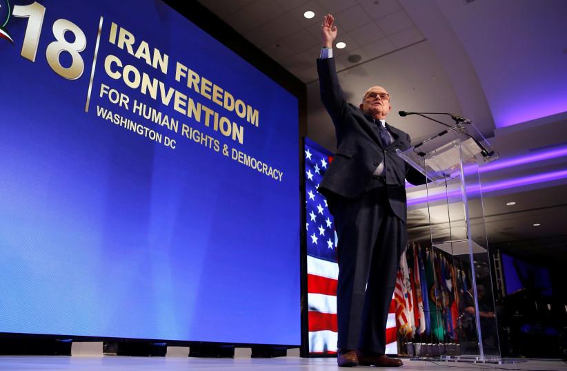 Former New York Mayor Rudy Giuliani speaks at the 2018 Iran Freedom Convention in Washington, DC, May 5, 2018 (photo credit: JOSHUA ROBERTS / REUTERS)