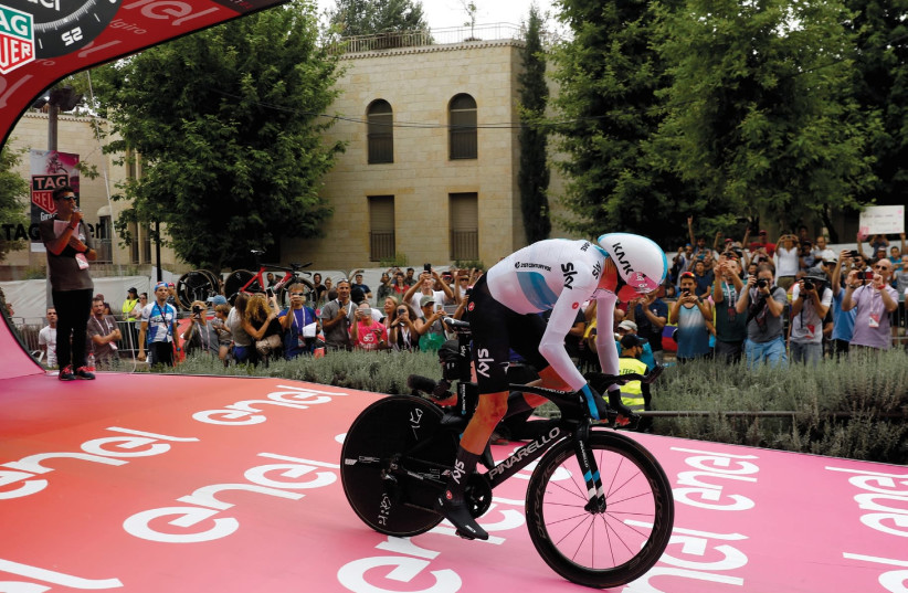 TEAM SKY rider Chris Froome of Britain starts the 101st Giro d'Italia cycling race in Jerusalem on May 4  (photo credit: REUTERS)
