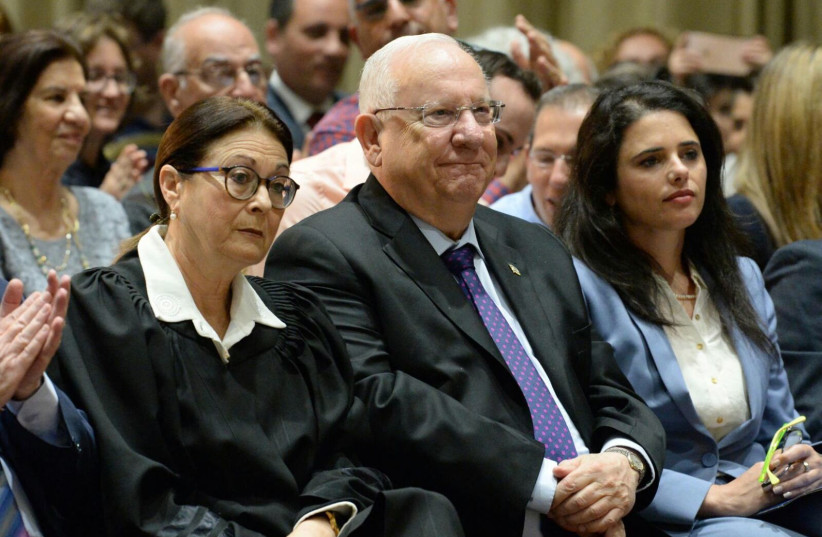 Supreme Court President Esther Hayut (L), President Reuven Rivlin (C), Justice Minister Ayelet Shaked (R) at the President's Residence, May 7, 2018 (photo credit: PRESIDENTIAL SPOKESPERSON OFFICE)